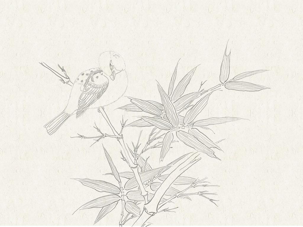 竹子手绘线稿马克笔