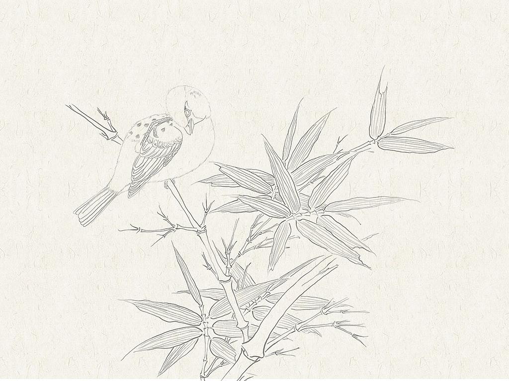 白描风格插画 中国风