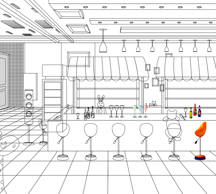 bus主题酒吧矢量插画式空间效果图设计制作