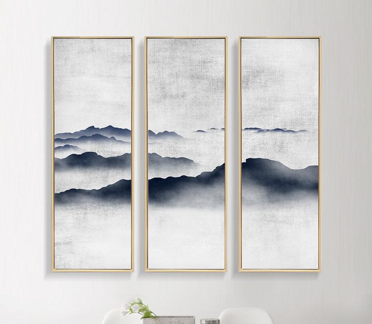 现代简约新中式装饰画中国风意境水墨山水画图片
