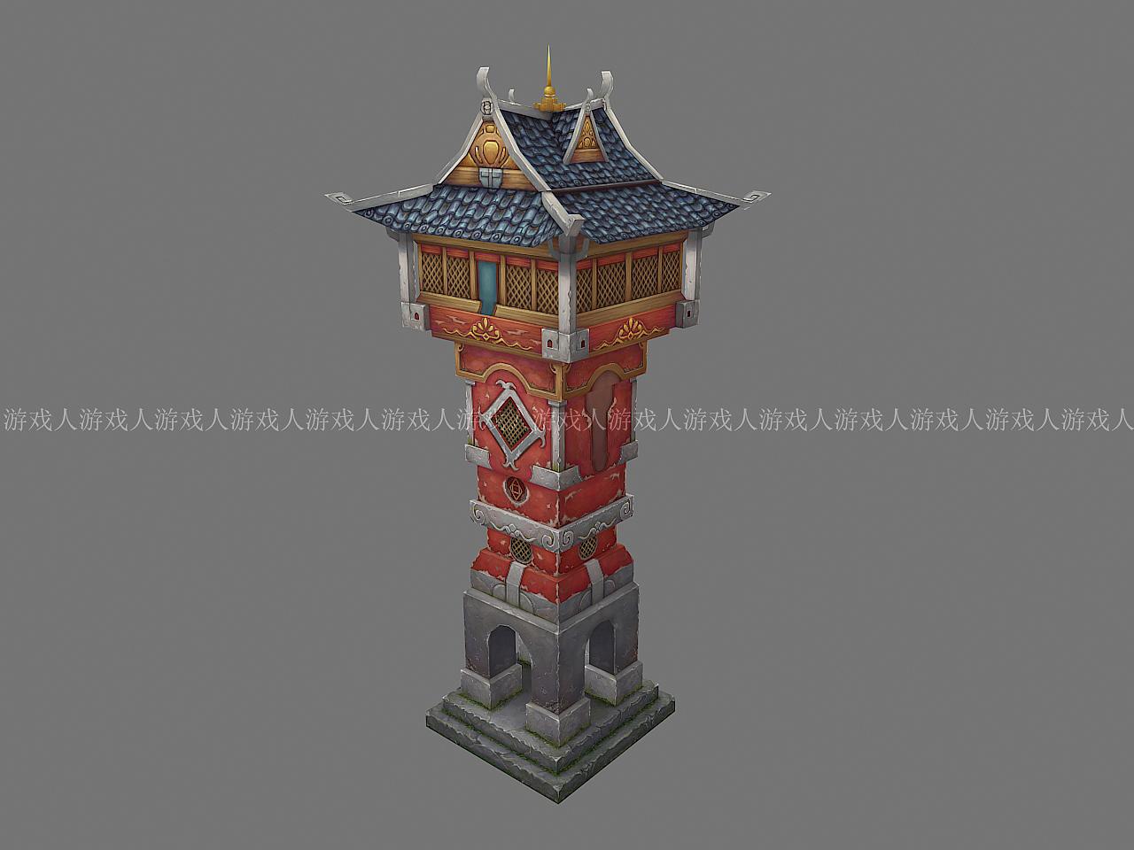 中式古代建筑,游戏场景建模及贴图绘制.