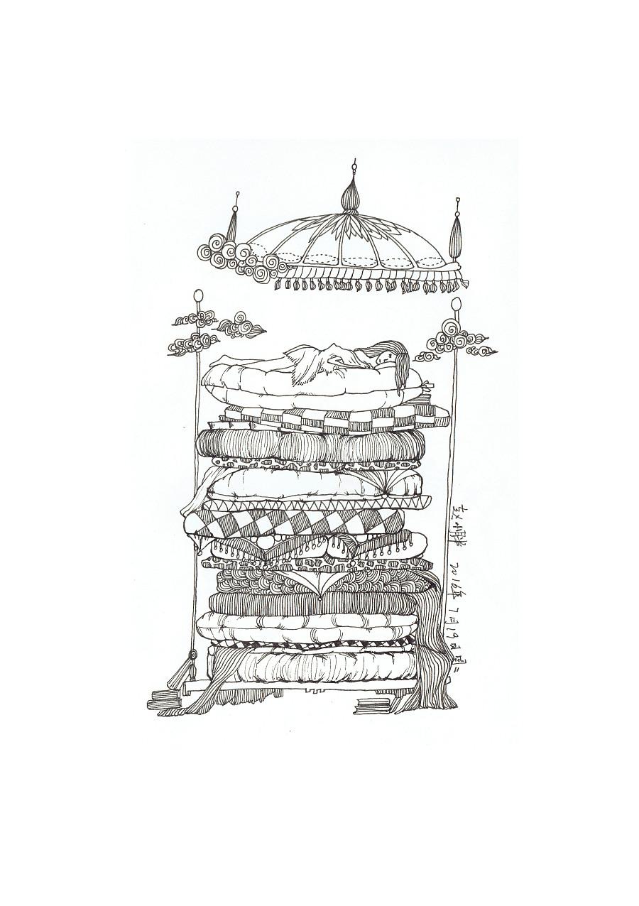 临摹 改编 针管笔手绘豌豆公主,猫,花 商业插