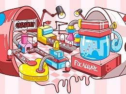 商业插画-菲鹿儿新品胶囊口红插画
