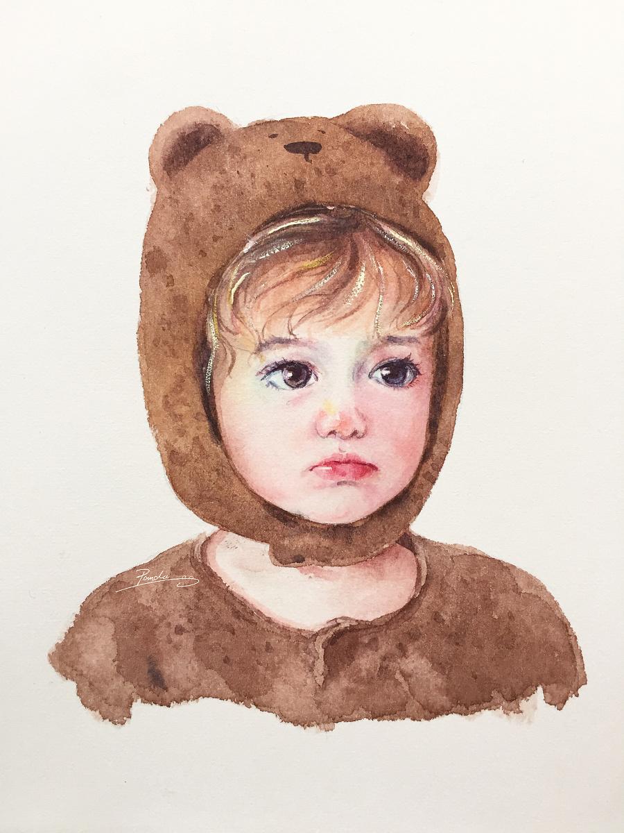 【小熊猫】水彩手绘人物水彩小孩头像