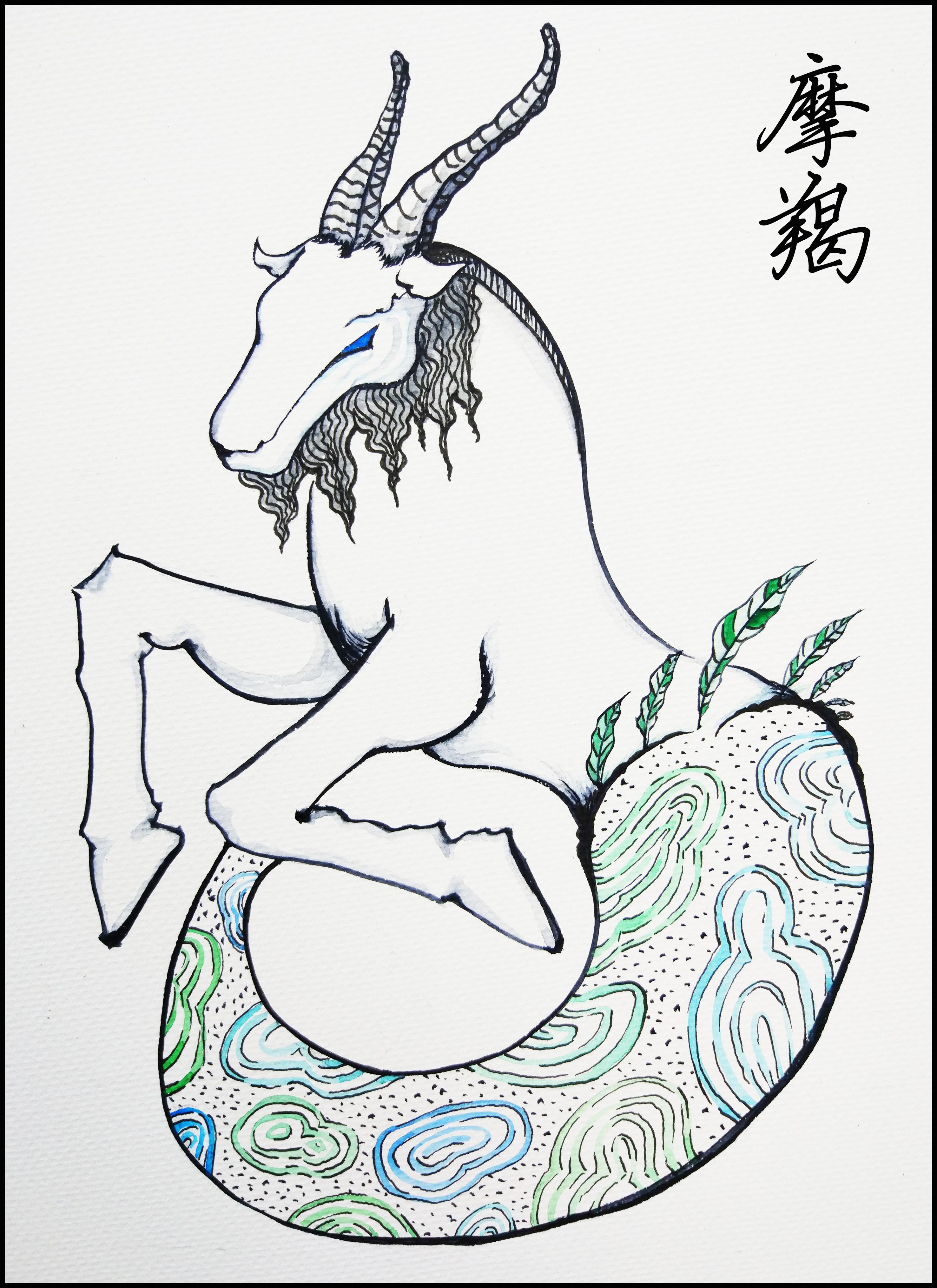 我是摩羯座插画淡彩画摩羯座星座图|水星|钢笔商业落入狮子座图片