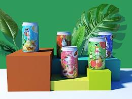 五款水果茶饮料一系列包装设计