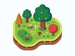 生机森林小岛   Sketch绘制临摹