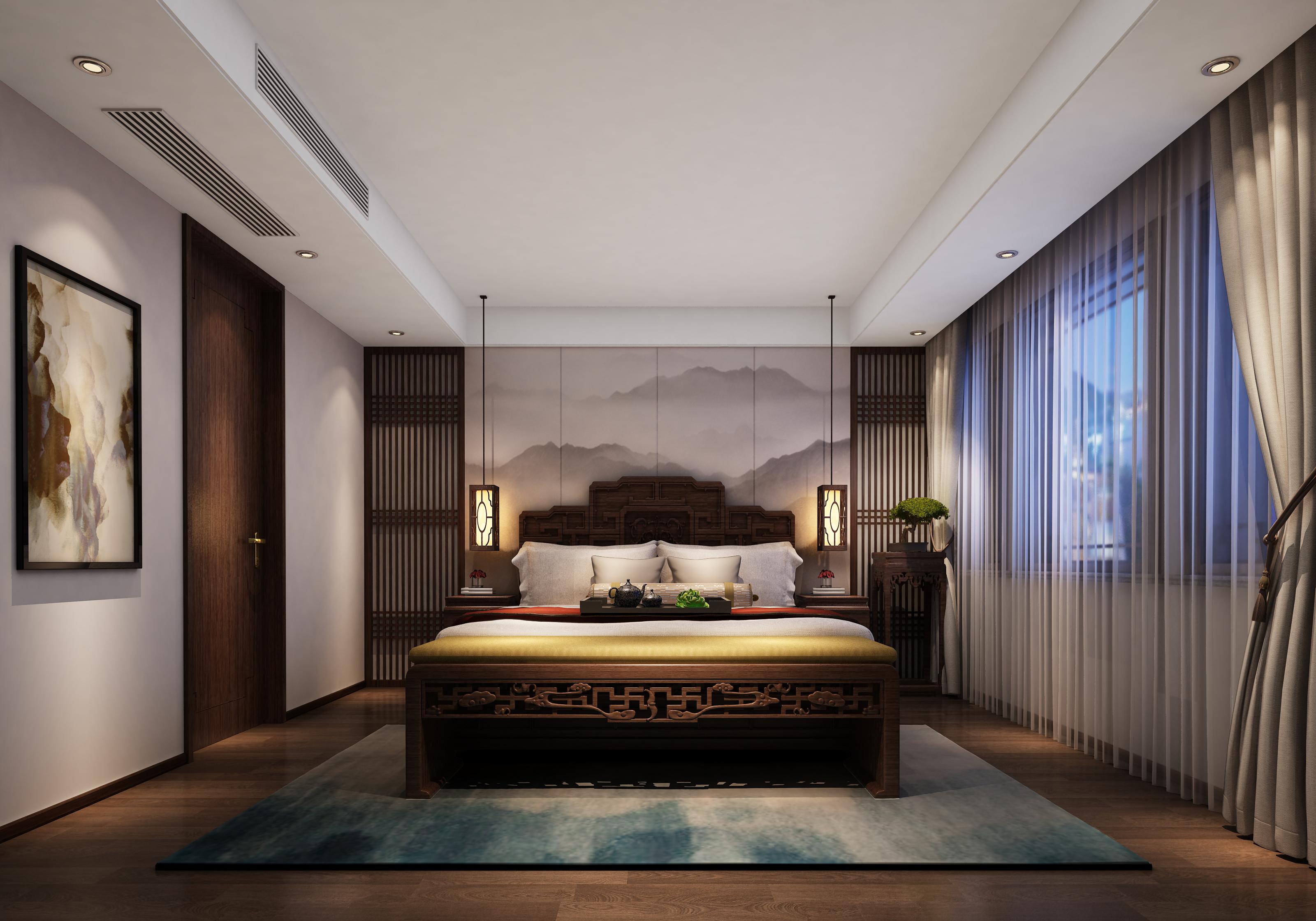 新中式别墅效果图|空间|室内设计|鱼丶先生 - 原创