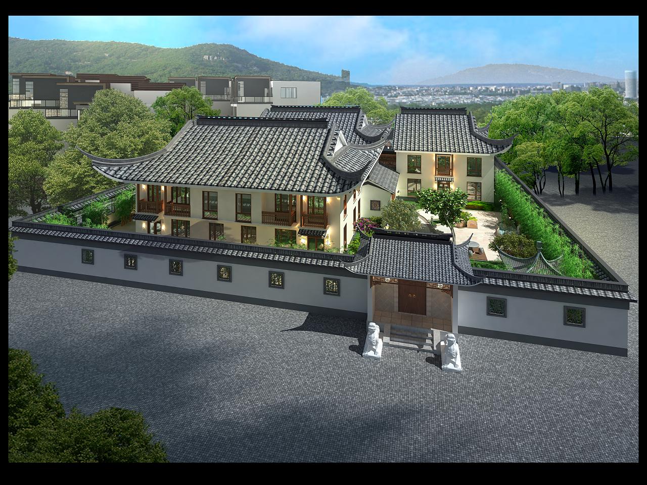 这是上海某四合院设计,目前土建以结束,后期就是园林图片