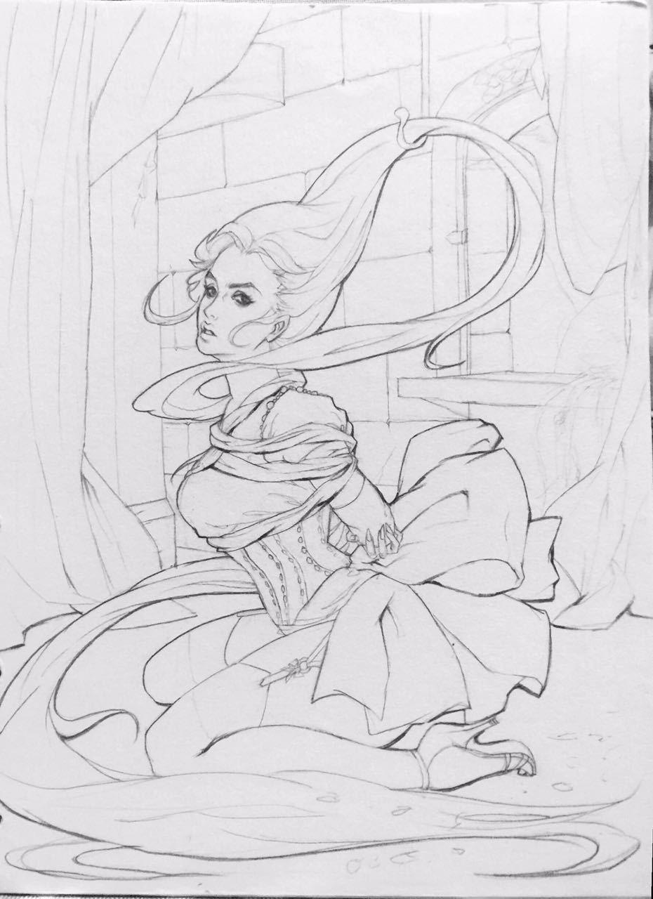 素描画卡通公主