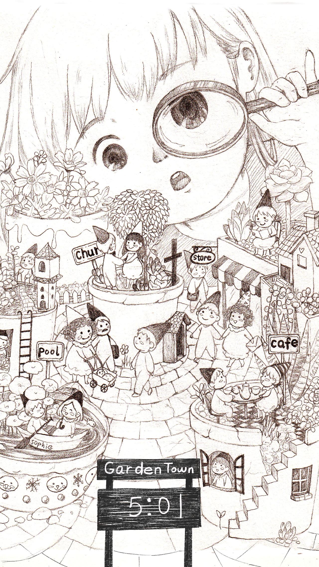 小花园里的大世界 平面 图案 唱歌的咖啡磨 - 原创图片