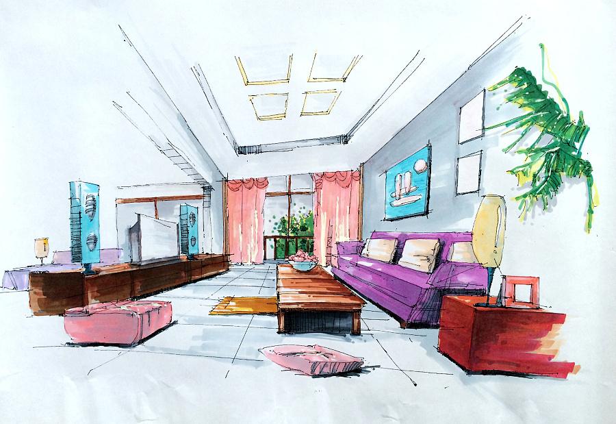 家居 简笔画 起居室 设计 手绘 线稿 装修 900_619