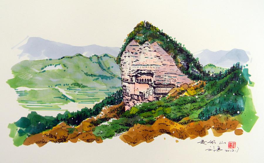 兰州风景手绘图画