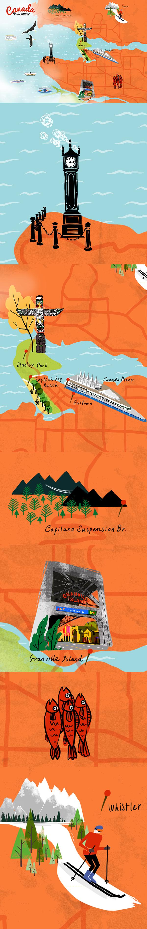 加拿大 温哥华 手绘地图