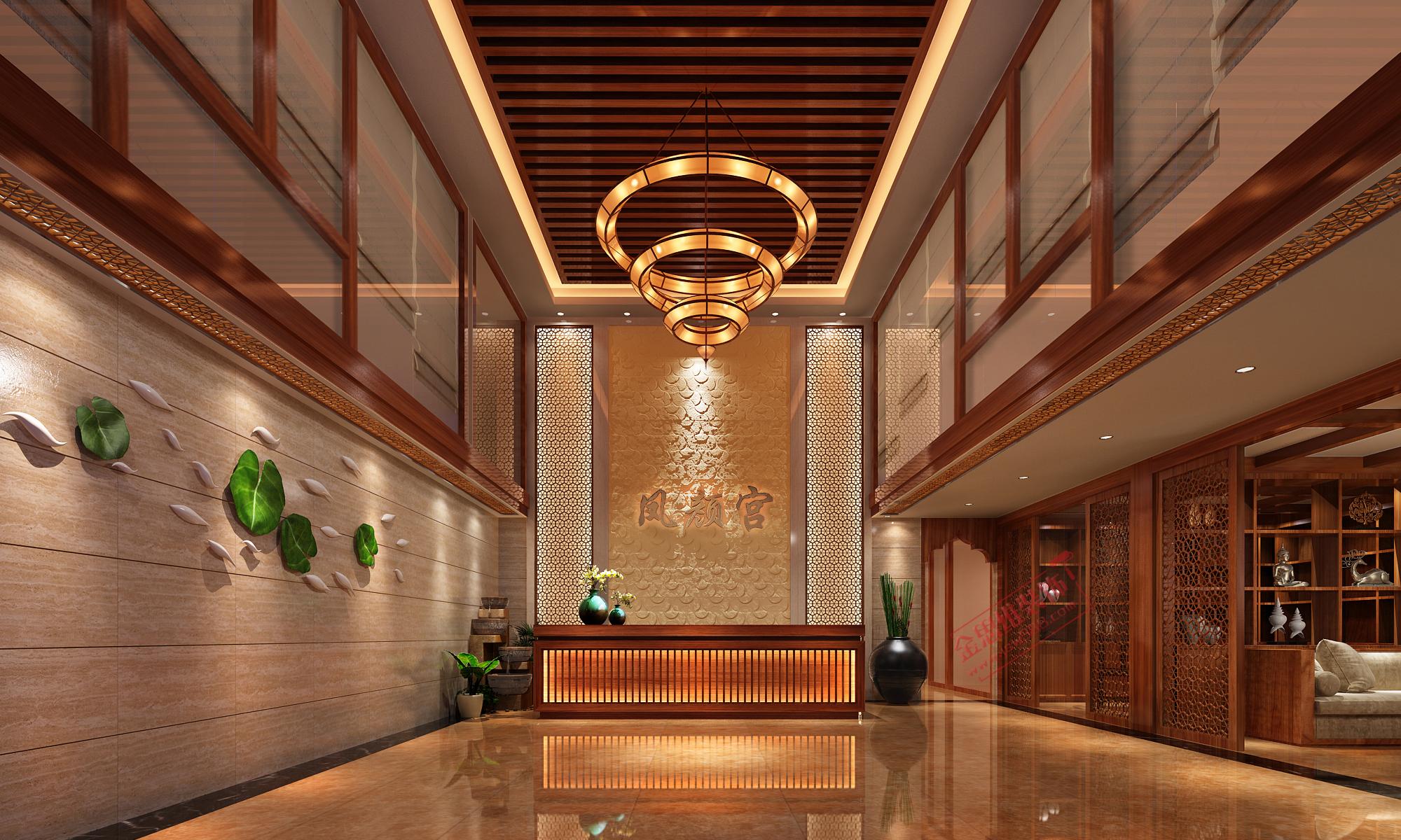 廣州鳳凰城鳳顏宮美容院大廳裝修設計效果圖圖片