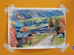 水彩画浓雾中的北疆村落-小尤说画