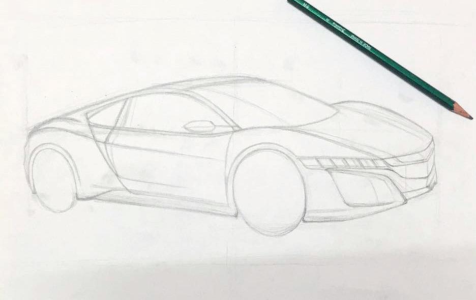 汽车效果图手绘分步图