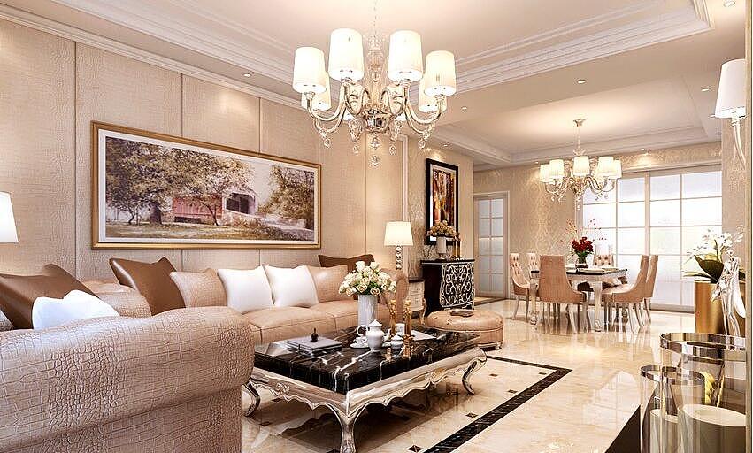 缔景天成装修效果图140平简美风格三室两厅设计案例---客厅