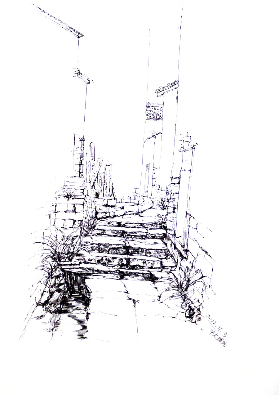 乡间小院手绘线稿
