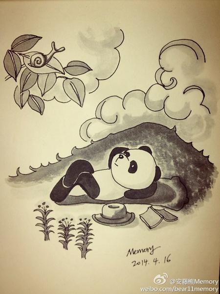 安藤熊memory手绘插画[一个人的假期]