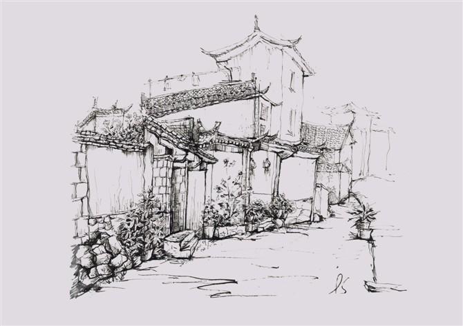 丽江古城素描手绘图
