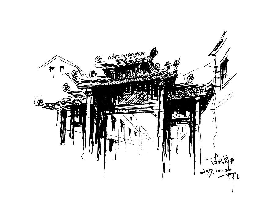 速写风景阿王钢笔画建筑