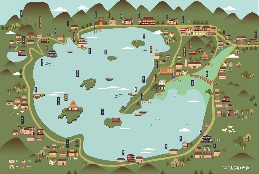 《泸沽湖》地图手册|宣传品|平面|卡上的飞机 - 原创
