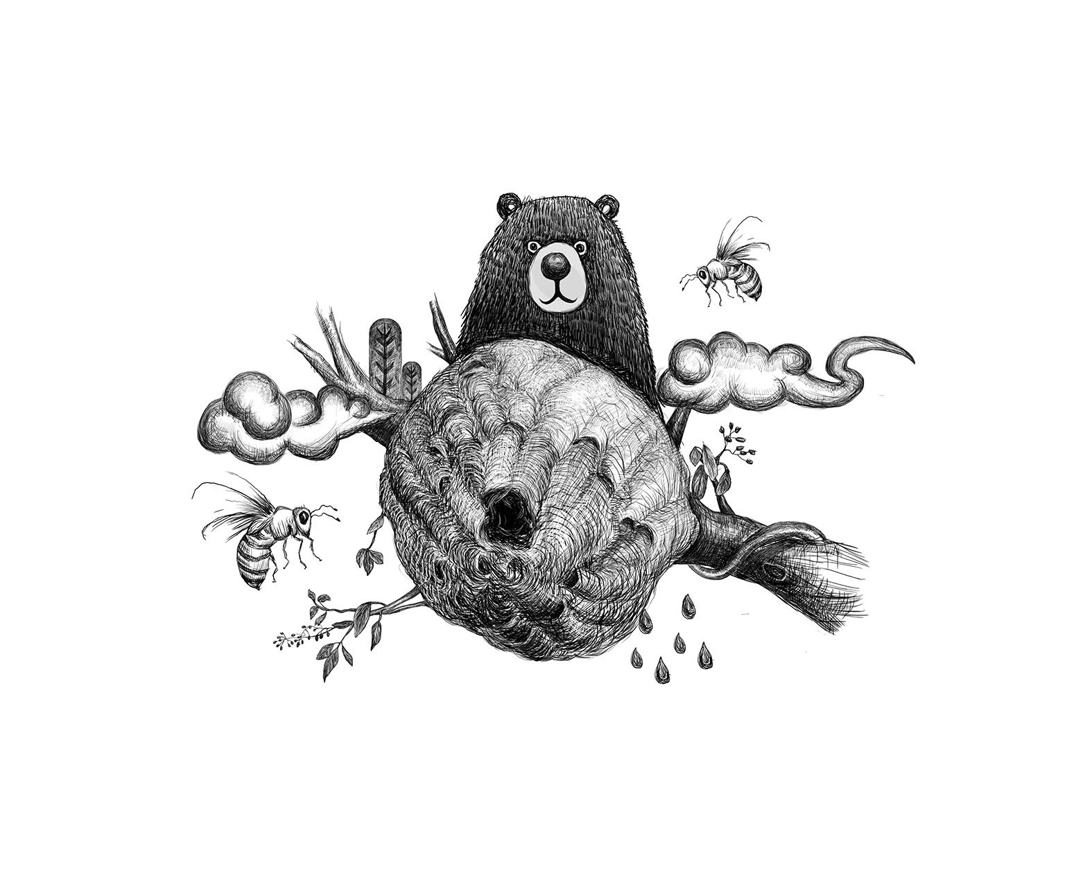 插画,蜂蜜,熊蜜蜂蜂巢,用于原型v插画大熊猫阿宝素描图片