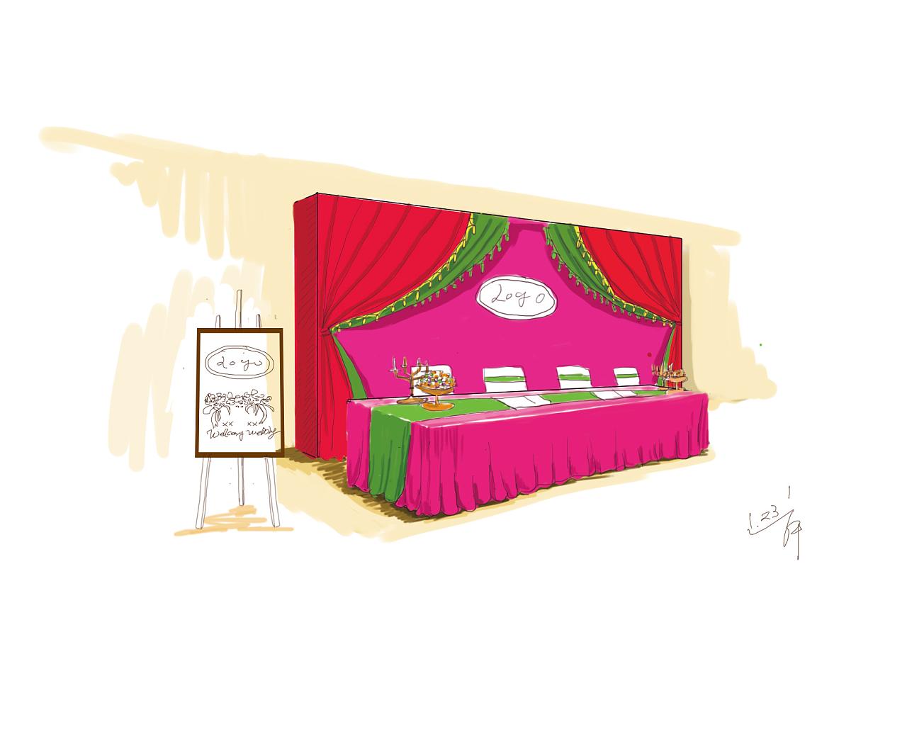 婚礼场景布置设计手绘效果图