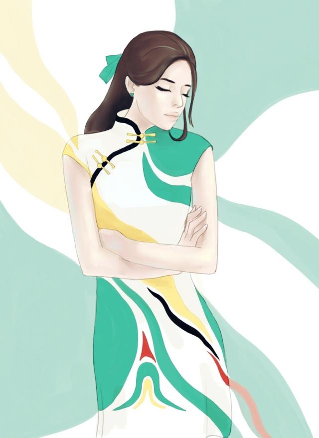 旗袍人物插画|绘画习作|插画|