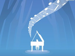 森林,钢琴,音乐—日常插画临摹