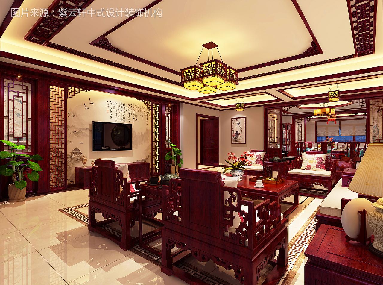 自建房中式装修效果图|空间|室内设计|紫云轩中式