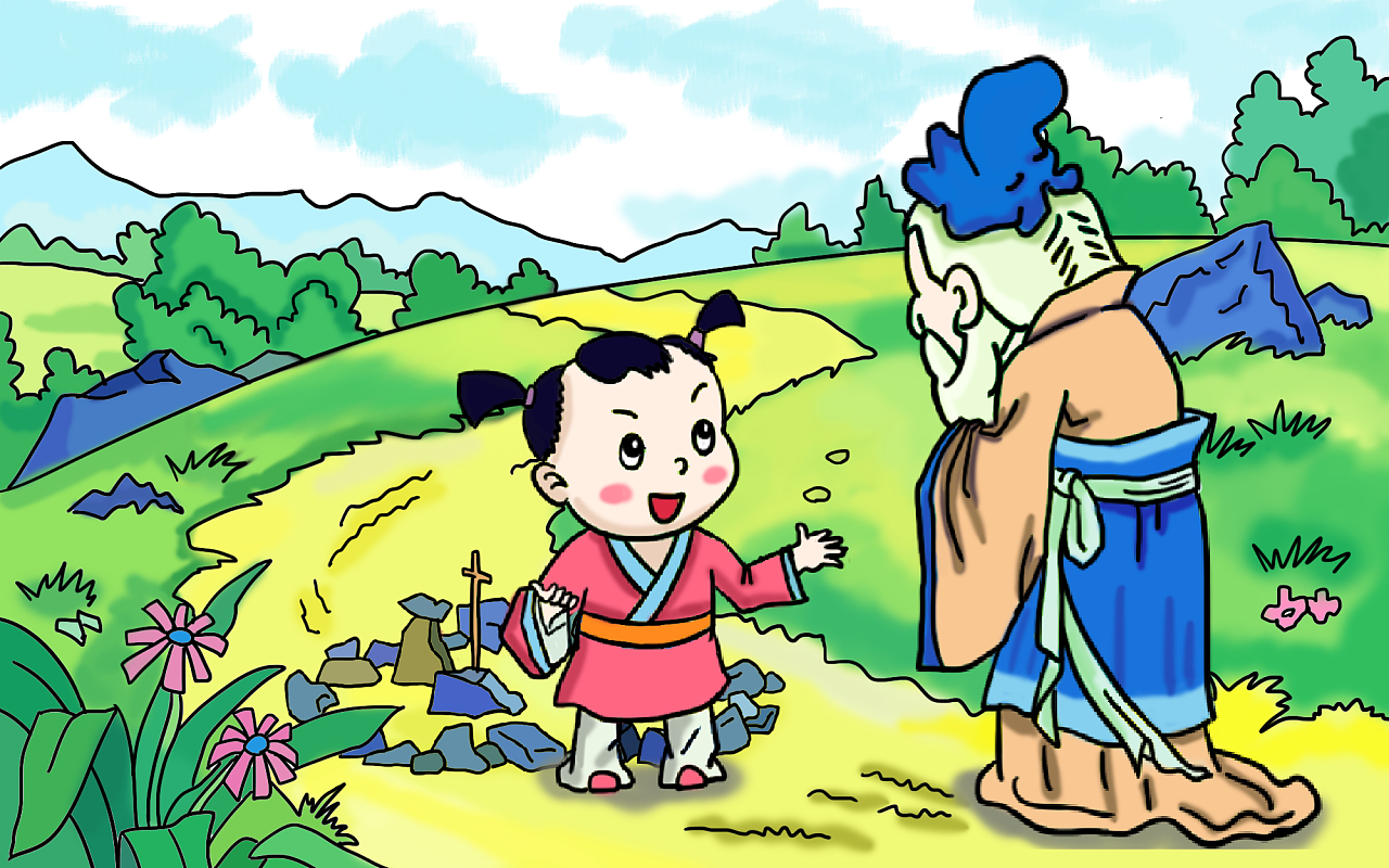 儿童插画绘本 三字经之孔子和项橐的故事图片