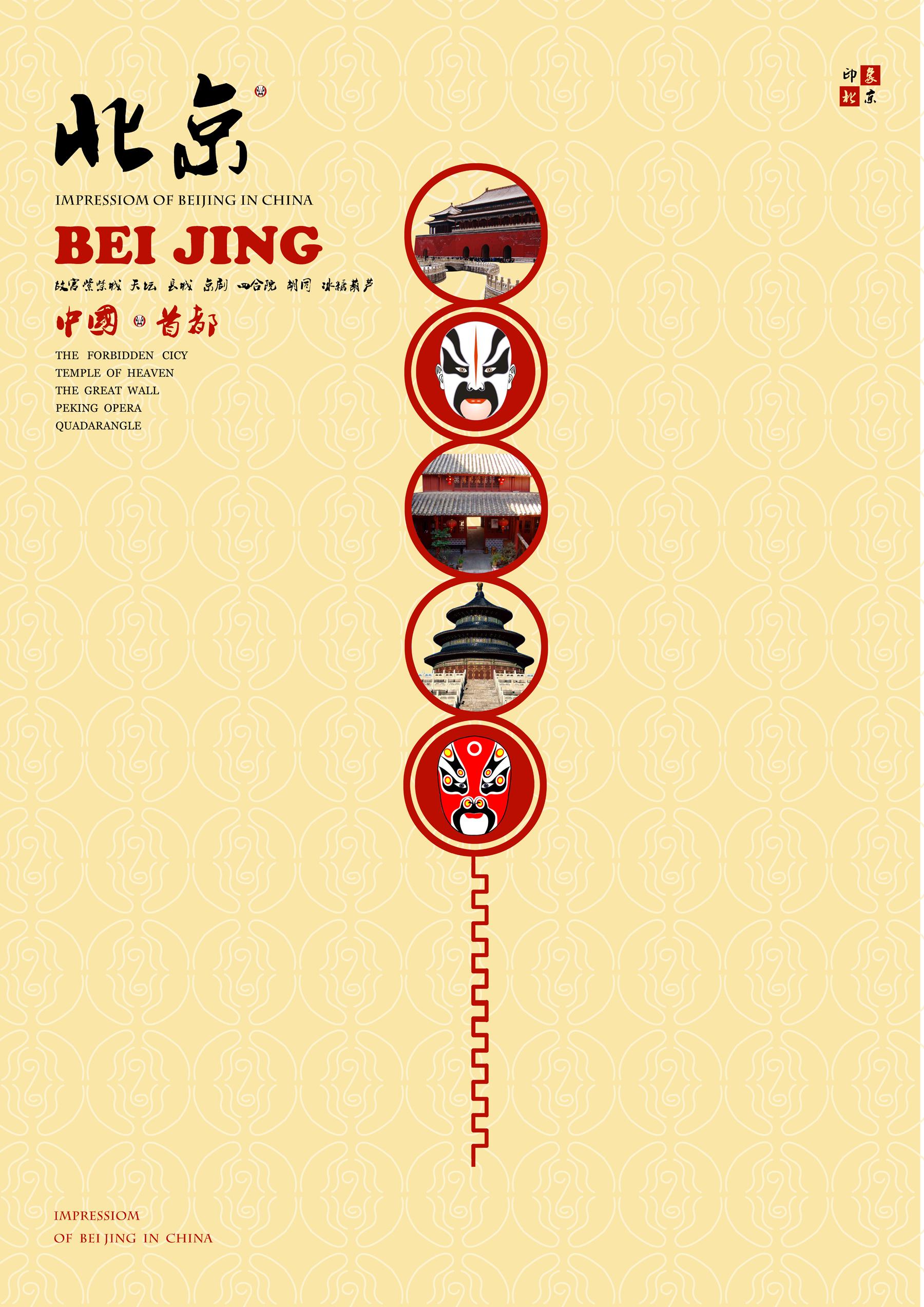 北京特色产品(糖葫芦,长城,京剧,黄马褂,四合院等)来创意出旅游海报图片
