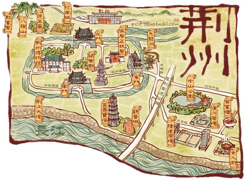 手绘地图 荆州宜昌汉川||插画|pcl79