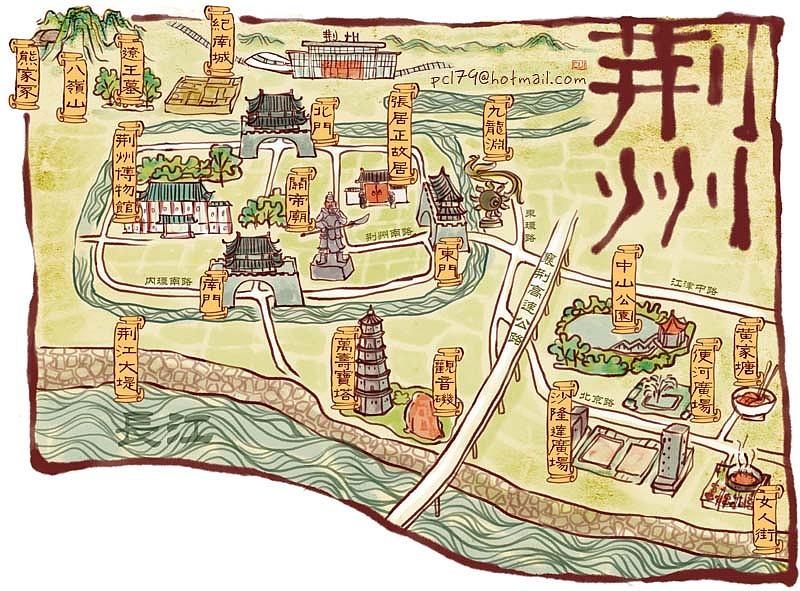 手绘地图 荆州宜昌汉川