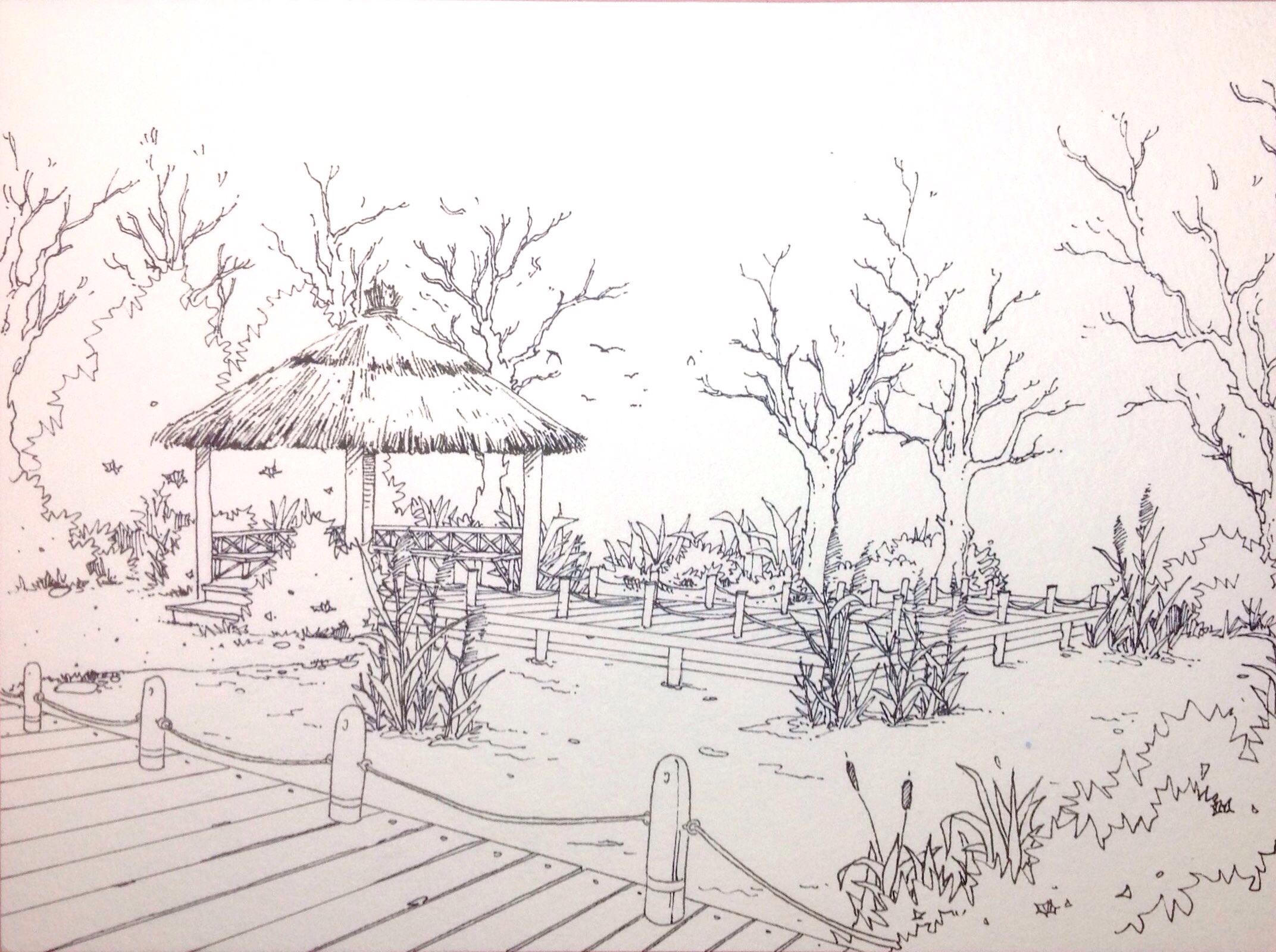 景观手绘效果图|空间|景观设计|语mow - 原创作品