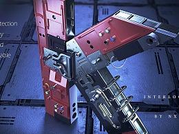 三维字体设计 机械锁K
