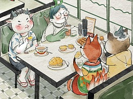 茶餐厅下午茶菠萝油