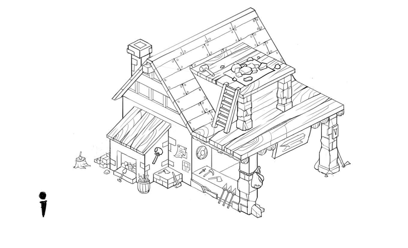 一些q版建筑线稿练习