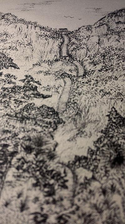 手绘 针管笔,泰山风景