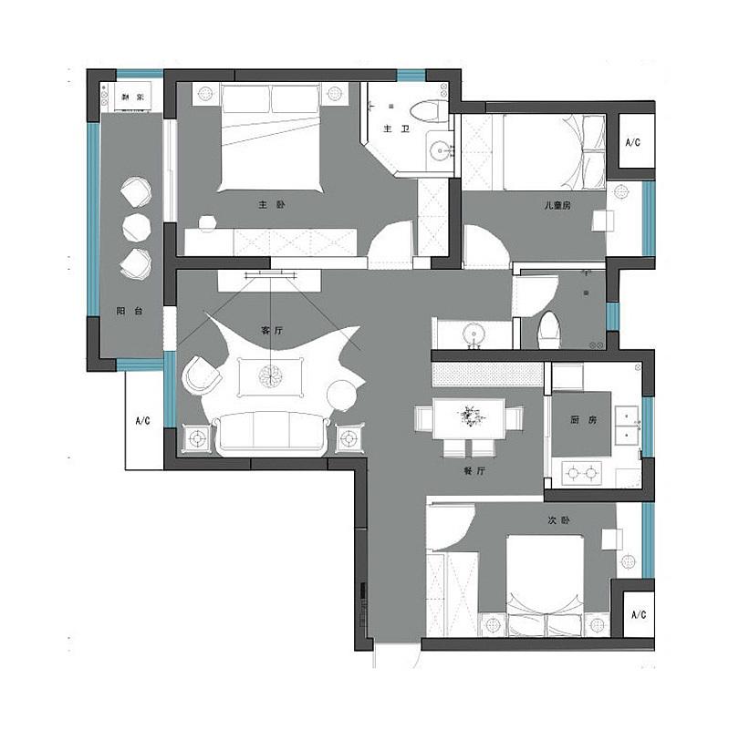 正弘澜庭叙135平三室两厅美式乡村风格装修案例欣赏---平面布局图