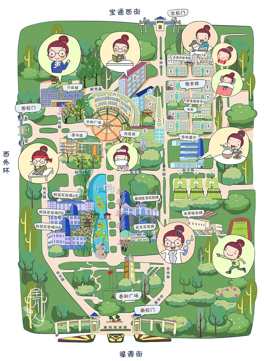 手绘地图|商业插画|插画|lin弄人