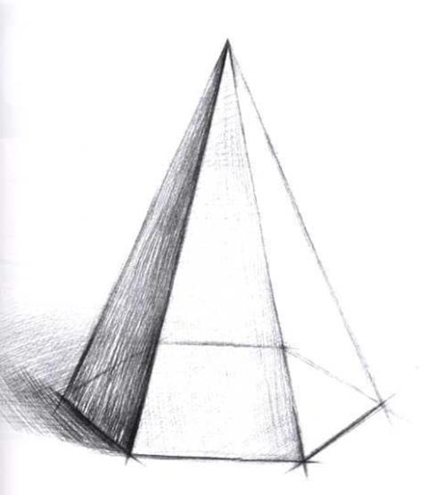 手绘球体,方体,锥体