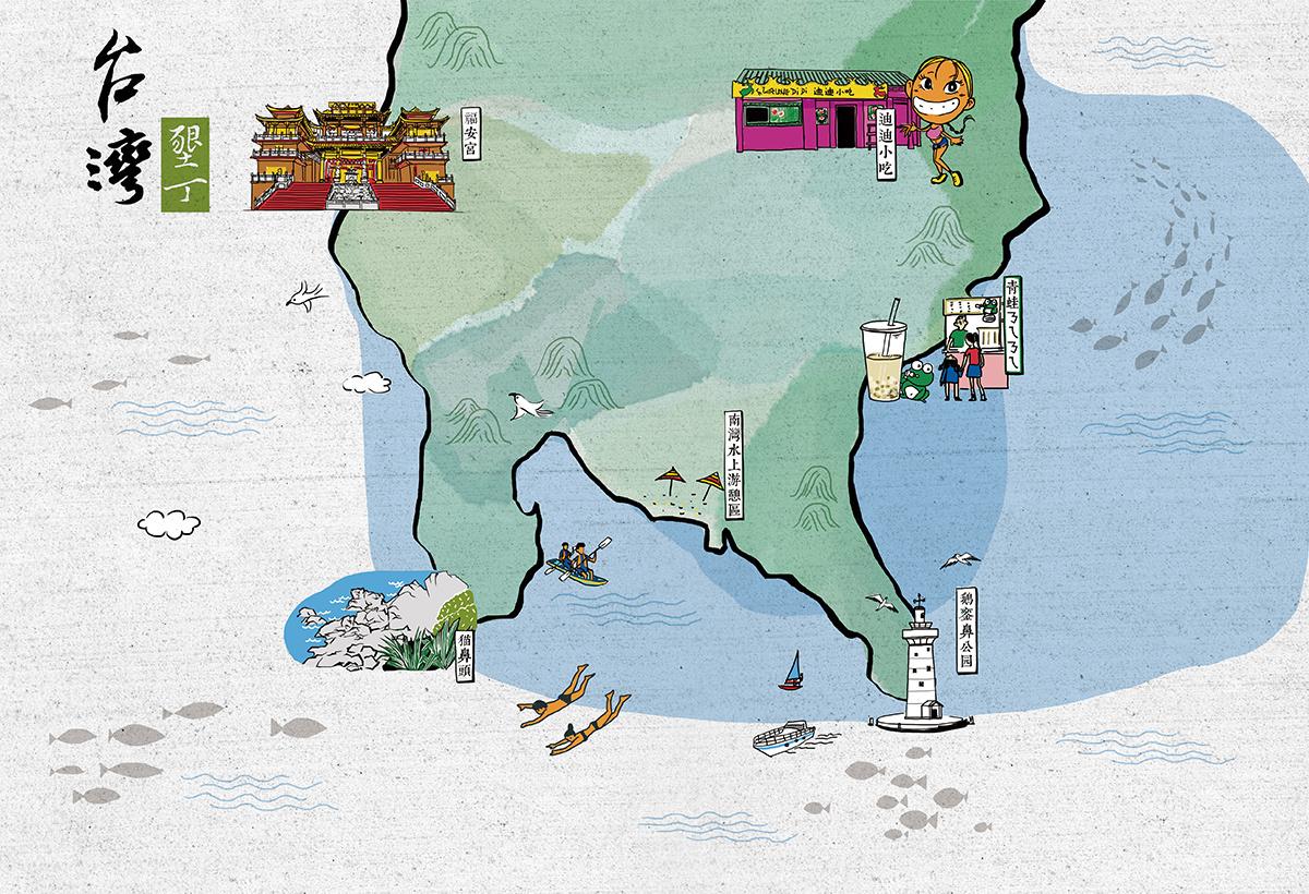 台湾垦丁 手绘 地图
