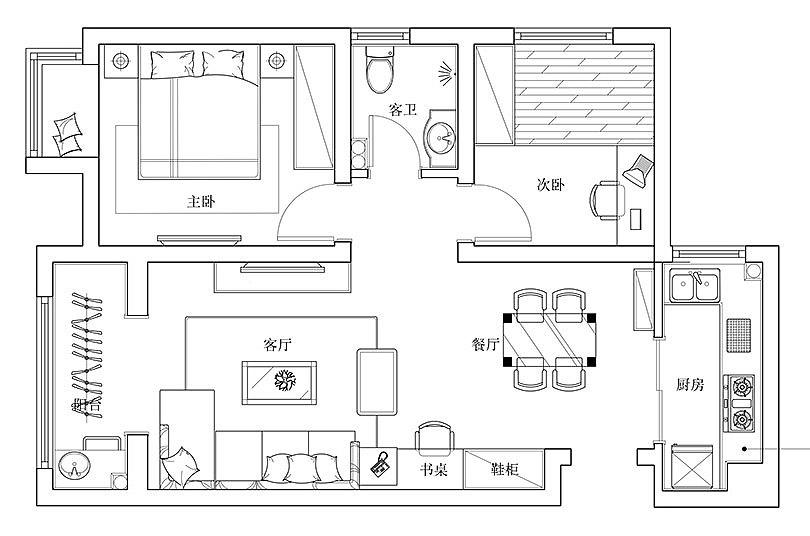 荆华庭83平两室两厅美式案例风格装修乡村效园林设计收费标准费率是多少图片