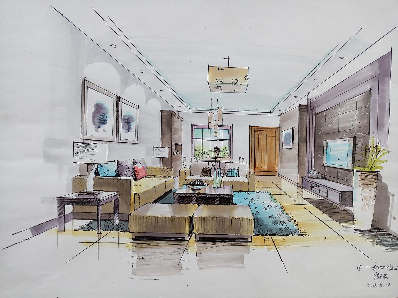 室内设计马克笔手绘|空间|室内设计|殷磊 - 原创作品