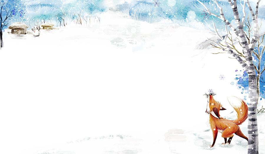 冬天边框简笔画