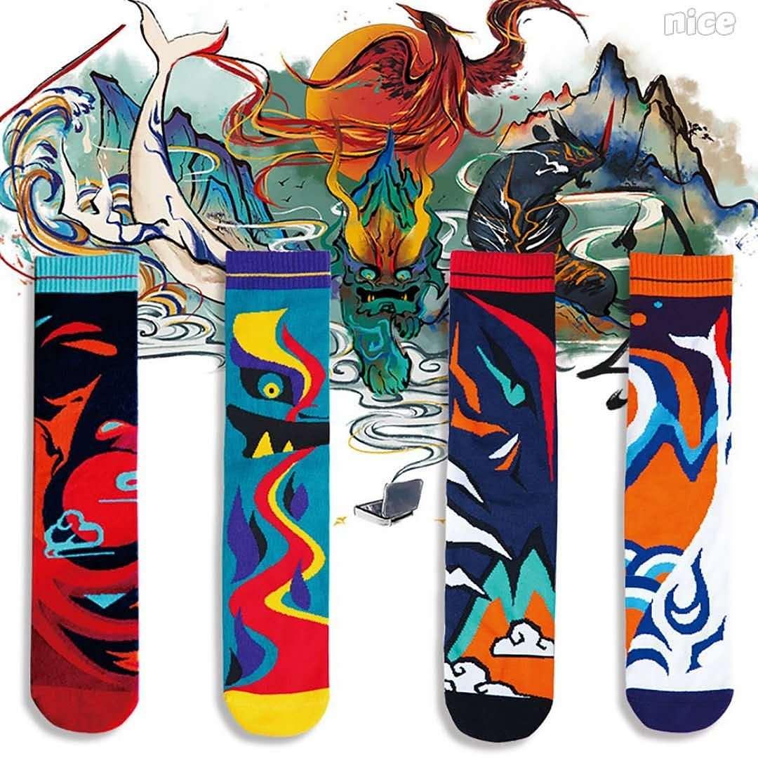 国潮元素 山海神兽 socks图片