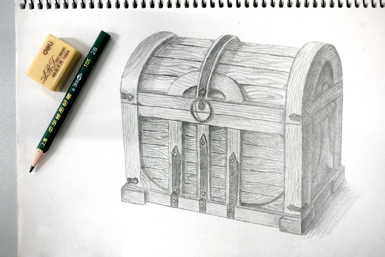 [临摹]手绘素描 - 木箱子